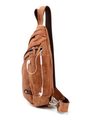 新品 ボディバッグ メンズバッグ 本革 牛革 斜め掛け 肩掛け 小物入れ 鞄 自転車 アウトドア レザー ブラウン_画像3