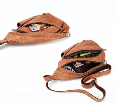 新品 ボディバッグ メンズバッグ 本革 牛革 斜め掛け 肩掛け 小物入れ 鞄 自転車 アウトドア レザー ブラウン_画像7