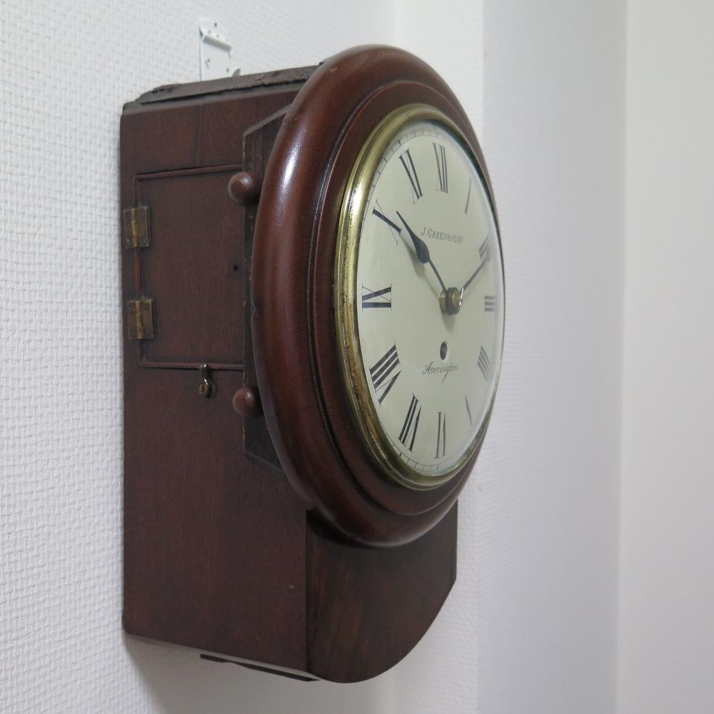 イギリス 鎖引き 8インチ 英国 アンティーク 振り子時計 掛け時計 古時計 柱時計 小さい fusee clock 20cm 骨董 丸時計 古い 検)精工舎