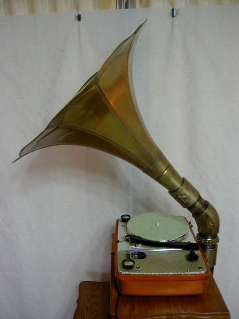 新・電気文化物 復元品 !! 外装自作 メーカー不明 大型ラッパ式 真空管 電気蓄音機_ラッパ部の側面拡大です