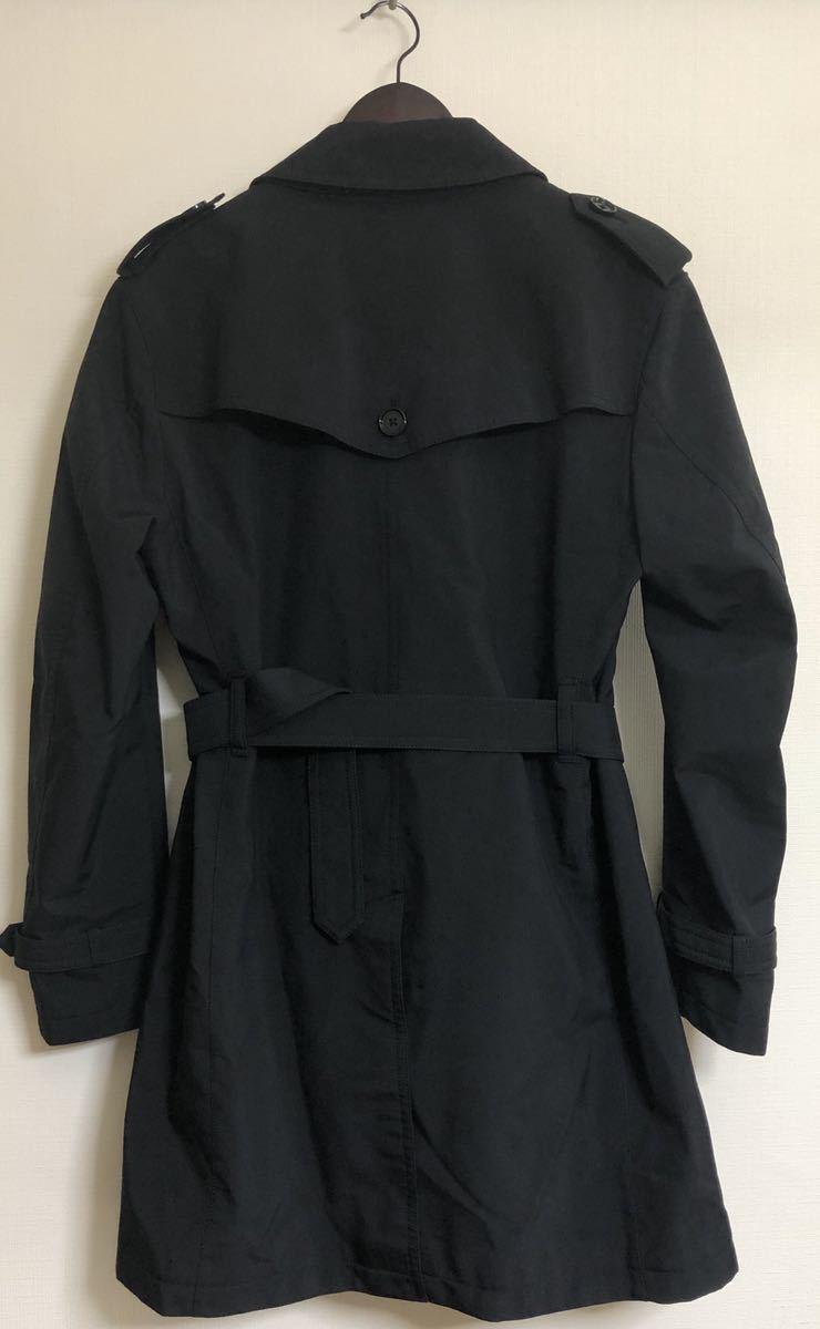 希少 サイズLL 美品 BURBERRY BLACK LABEL バーバリーブラックレーベル ダブル トレンチ コート ブラック ボンディング 加工 撥水_画像2