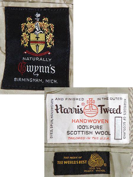 古着 ジャケット 80s wynn's × Harris Tweed ハリス ツイード ウール テーラード ジャケット 38位 古着_画像7