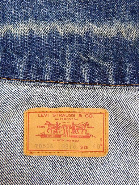 古着 ジャケット 90s USA製 Levi's 70506 ハンド ポケット付 濃紺 インディゴ デニム ジャケット Gジャン 40 古着_画像8