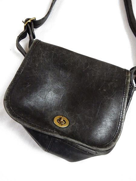 古着 バッグ USA製 OLD COACH コーチ フラップ レザー ショルダー バッグ 中型 黒 ブランド 雑貨 古着?_画像2