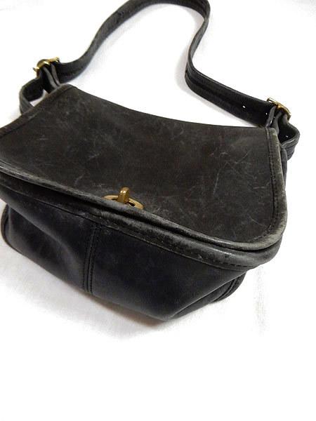 古着 バッグ USA製 OLD COACH コーチ フラップ レザー ショルダー バッグ 中型 黒 ブランド 雑貨 古着?_画像3