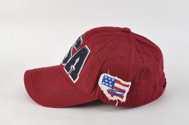 野球帽 スナップバックN02ワインレッド 星条旗USAロゴ キャップ ヴィンテージ風 ワッペン 刺繍 薄手 男女兼用 帽子 メンズ レディース 新品_画像2
