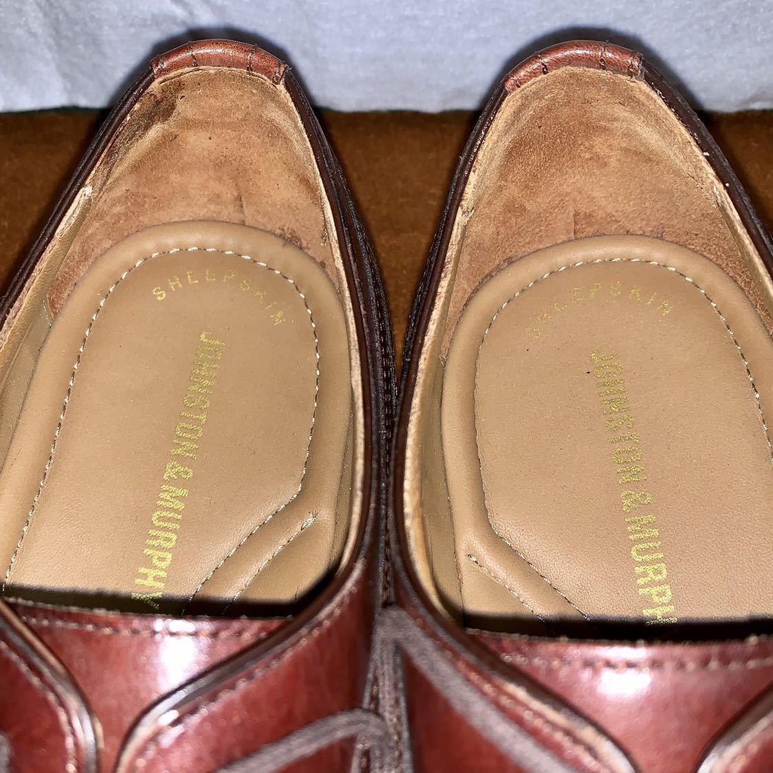 【未使用品】Johnston&Murphy ジョンストン&マーフィー ウイングチップ US 9 M 27cm相応 赤茶 革靴 アメリカ靴_画像6