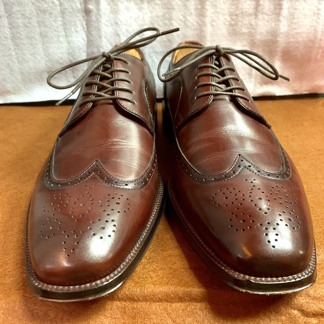 【未使用品】Johnston&Murphy ジョンストン&マーフィー ウイングチップ US 9 M 27cm相応 赤茶 革靴 アメリカ靴_画像5