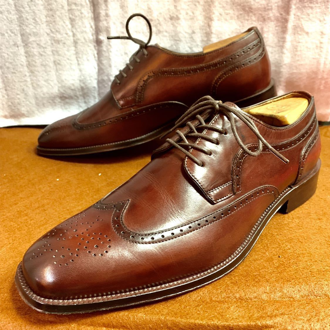 【未使用品】Johnston&Murphy ジョンストン&マーフィー ウイングチップ US 9 M 27cm相応 赤茶 革靴 アメリカ靴_画像1