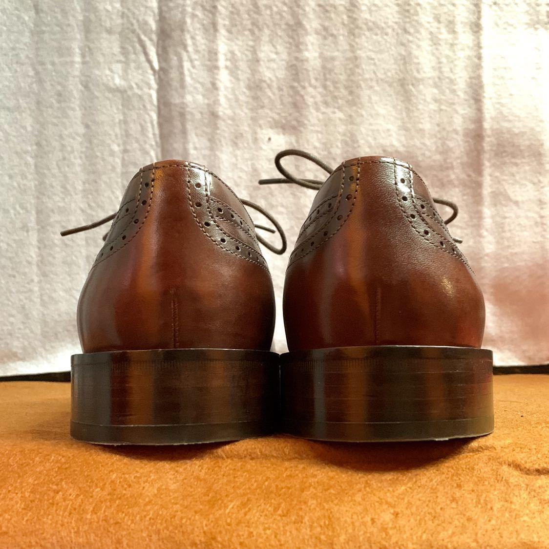 【未使用品】Johnston&Murphy ジョンストン&マーフィー ウイングチップ US 9 M 27cm相応 赤茶 革靴 アメリカ靴_画像4