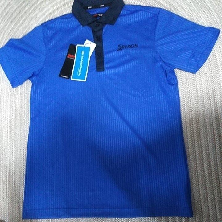 新品 定価10230 SRIXON マスターズモデル サンスクリーン 半袖 ポロシャツ M メンズ 青 日本製 UVケア 遮熱 吸汗 速乾 デサント スリクソン_画像2