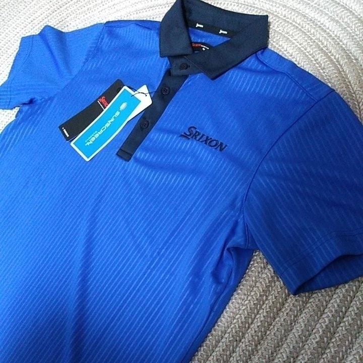 新品 定価10230 SRIXON マスターズモデル サンスクリーン 半袖 ポロシャツ M メンズ 青 日本製 UVケア 遮熱 吸汗 速乾 デサント スリクソン_画像1