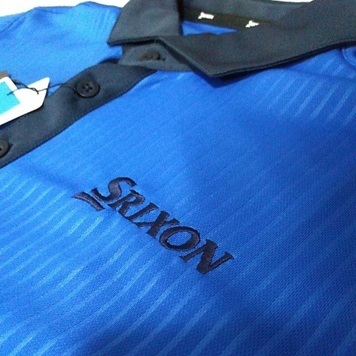 新品 定価10230 SRIXON マスターズモデル サンスクリーン 半袖 ポロシャツ M メンズ 青 日本製 UVケア 遮熱 吸汗 速乾 デサント スリクソン_画像3