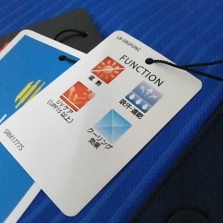 新品 定価10230 SRIXON マスターズモデル サンスクリーン 半袖 ポロシャツ M メンズ 青 日本製 UVケア 遮熱 吸汗 速乾 デサント スリクソン_画像6
