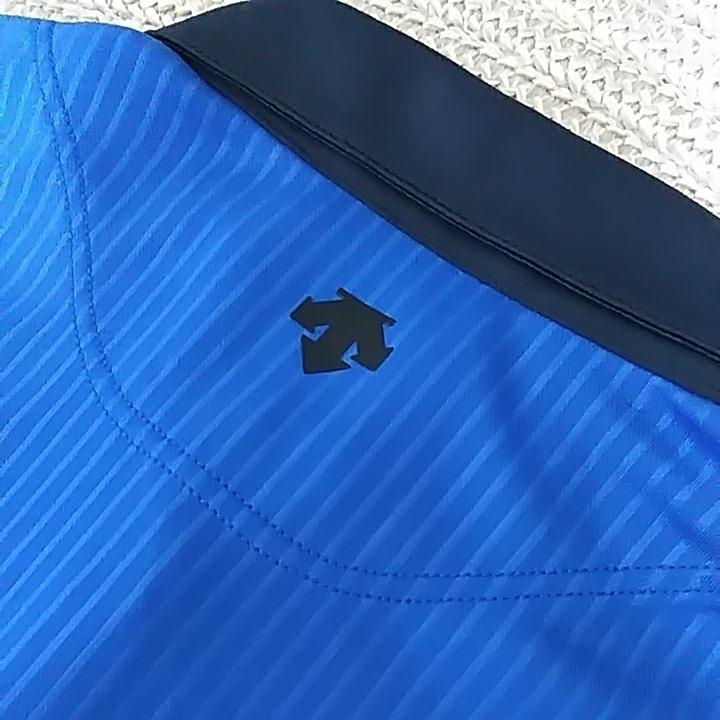 新品 定価10230 SRIXON マスターズモデル サンスクリーン 半袖 ポロシャツ M メンズ 青 日本製 UVケア 遮熱 吸汗 速乾 デサント スリクソン_画像8