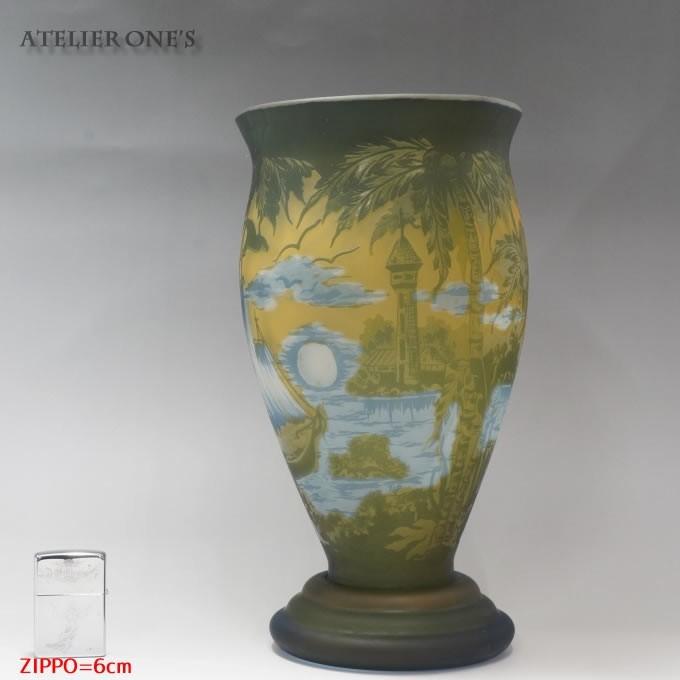 【証明書付】【希少】 エミールガレ 高さ29.5cm カメオ彫り アンティーク 骨董 花瓶 フラワーベース R0215_画像7