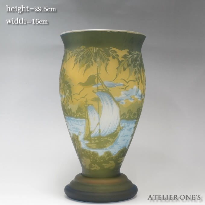 【証明書付】【希少】 エミールガレ 高さ29.5cm カメオ彫り アンティーク 骨董 花瓶 フラワーベース R0215_画像1