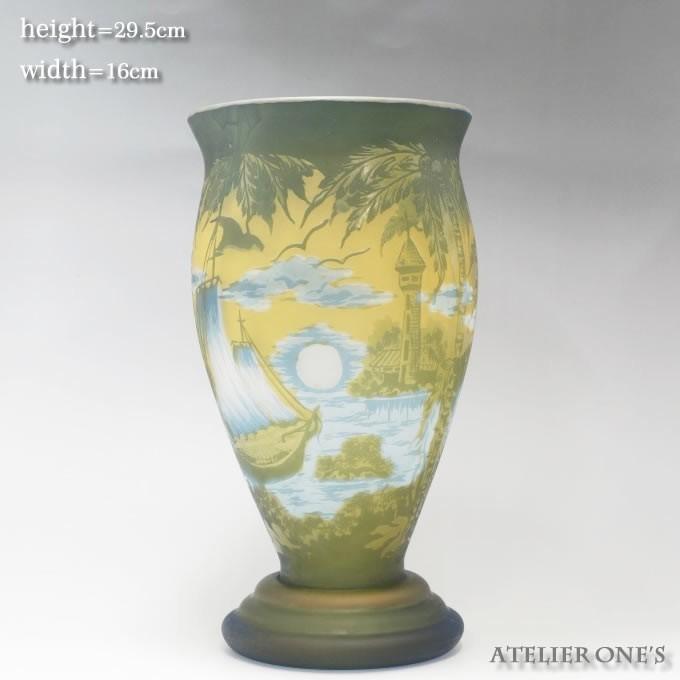 【証明書付】【希少】 エミールガレ 高さ29.5cm カメオ彫り アンティーク 骨董 花瓶 フラワーベース R0215_画像9