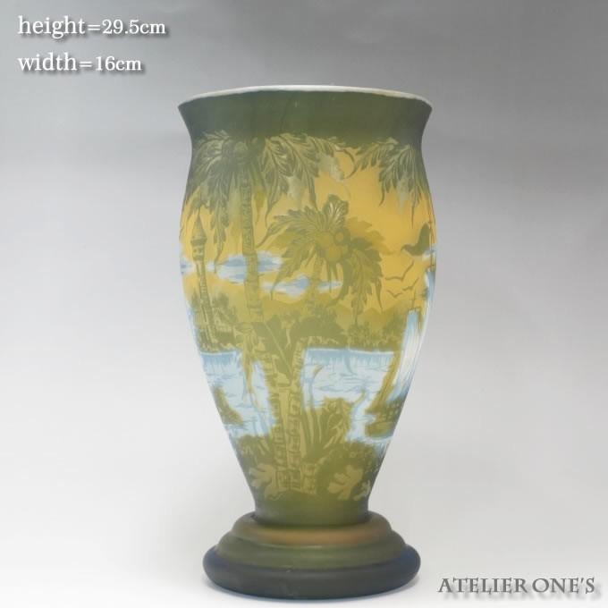 【証明書付】【希少】 エミールガレ 高さ29.5cm カメオ彫り アンティーク 骨董 花瓶 フラワーベース R0215_画像5