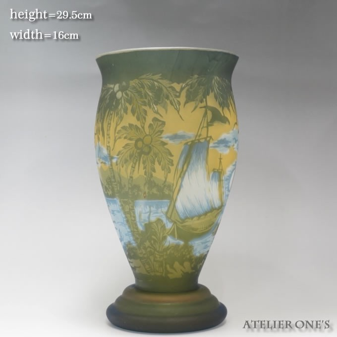 【証明書付】【希少】 エミールガレ 高さ29.5cm カメオ彫り アンティーク 骨董 花瓶 フラワーベース R0215_画像3