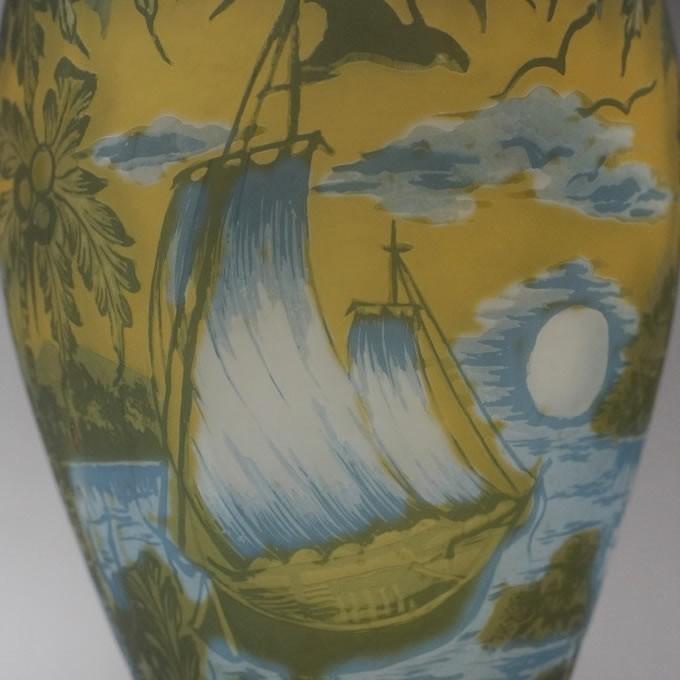【証明書付】【希少】 エミールガレ 高さ29.5cm カメオ彫り アンティーク 骨董 花瓶 フラワーベース R0215_画像10