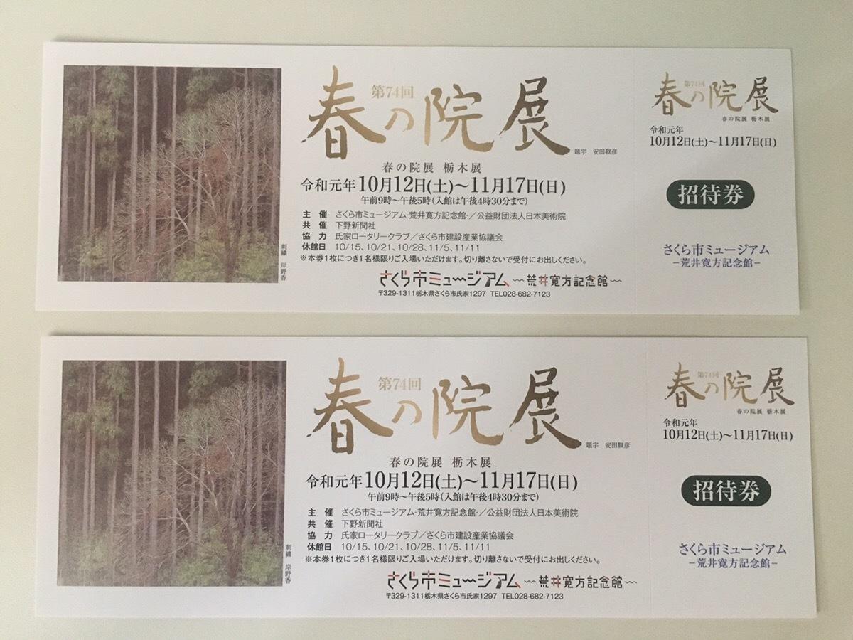 第74回 春の院展 栃木県さくら市ミュージアム 招待券 チケット 2枚セット ペア _画像1