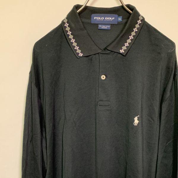 【美品】POLO GOLF Ralph Lauren 長袖 ポロシャツ メンズ LL 黒 高級ピマコットン100% ポニー刺繍 ポロラルフローレン ゴルフ スポーツ_画像1