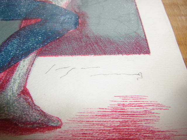 ■希少 美品 昭和55年頃(1980年)額装なし!池田満寿夫 表と裏に直筆サイン入り 銅版画 『骸骨』 限定部数(18/50)_画像3