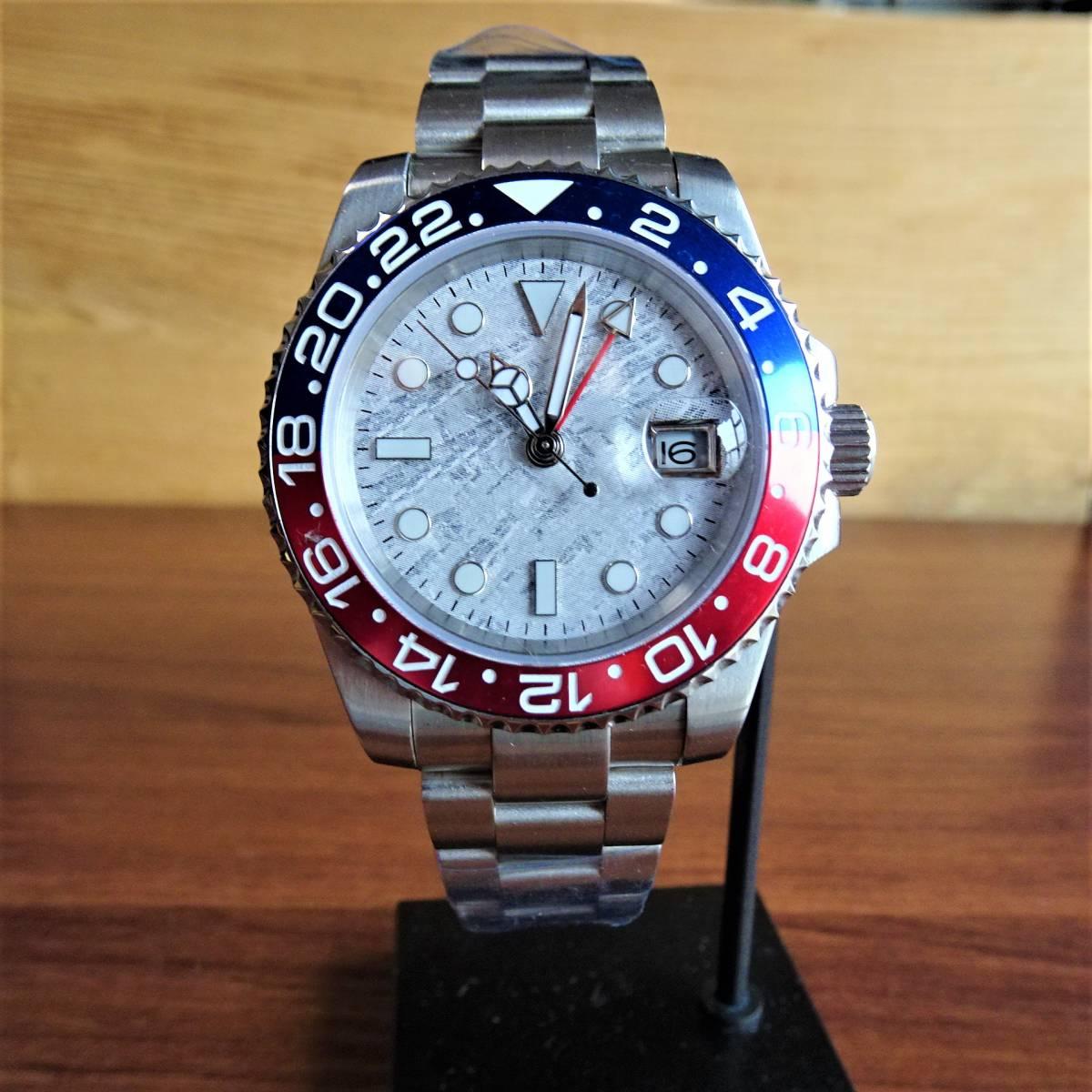 〓新品〓自動巻き機械式腕時計〓GMTダイバーノーロゴホワイトシェルモデル オールステンレス〓オマージュウォッチ 40mm 〓最落なし