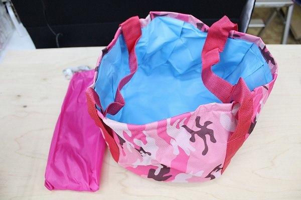 「bxo-a2」 携帯 折りたたみ バケツ 便利な 大きめ 15L 旅行 キャンプ 釣り 足湯 コンパクト 収納袋 ピンク迷彩_画像4