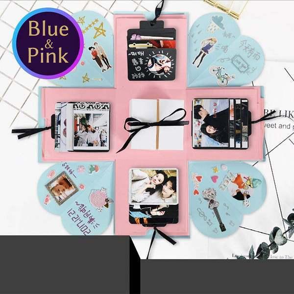 「b20-a2」 サプライズボックス プレゼント 寄せ書き 結婚式 誕生日 記念日 送別会 アルバム スクラップブック 青×ピンク_画像1