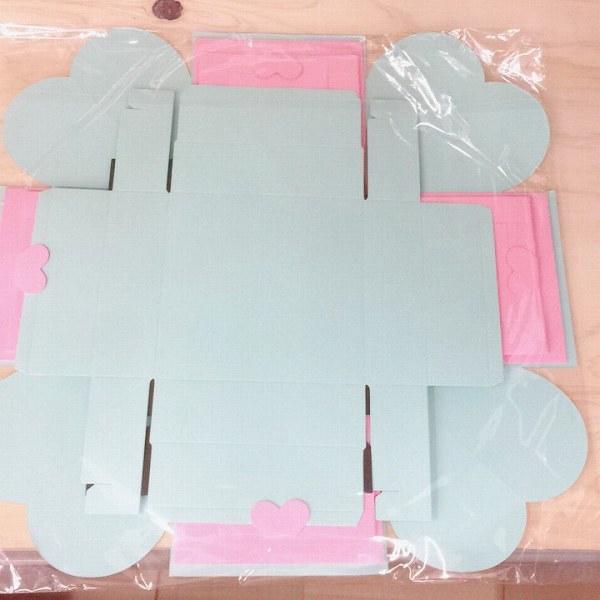 「b20-a2」 サプライズボックス プレゼント 寄せ書き 結婚式 誕生日 記念日 送別会 アルバム スクラップブック 青×ピンク_画像4