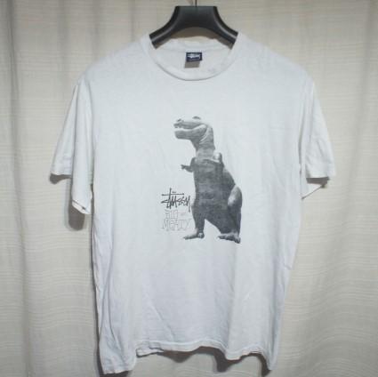 OLD STUSSY ステューシー USA製 恐竜プリント 半袖Tシャツ L 白/ヴィンテージ ビンテージ 80s 90s 黒タグ ダイナソー ティラノサウルス_画像1