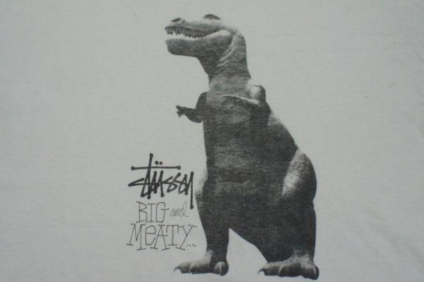 OLD STUSSY ステューシー USA製 恐竜プリント 半袖Tシャツ L 白/ヴィンテージ ビンテージ 80s 90s 黒タグ ダイナソー ティラノサウルス_画像3
