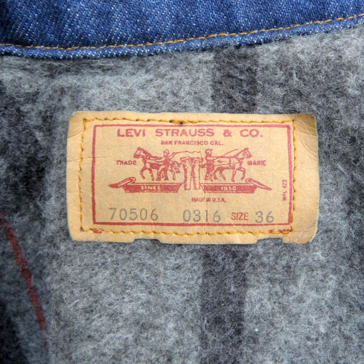 ☆送料無料☆ デッドストック 80s ビンテージ LEVIS リーバイス 70506 USA製 デニム ジャケット Gジャン ジージャン ブランケット 古着_画像5