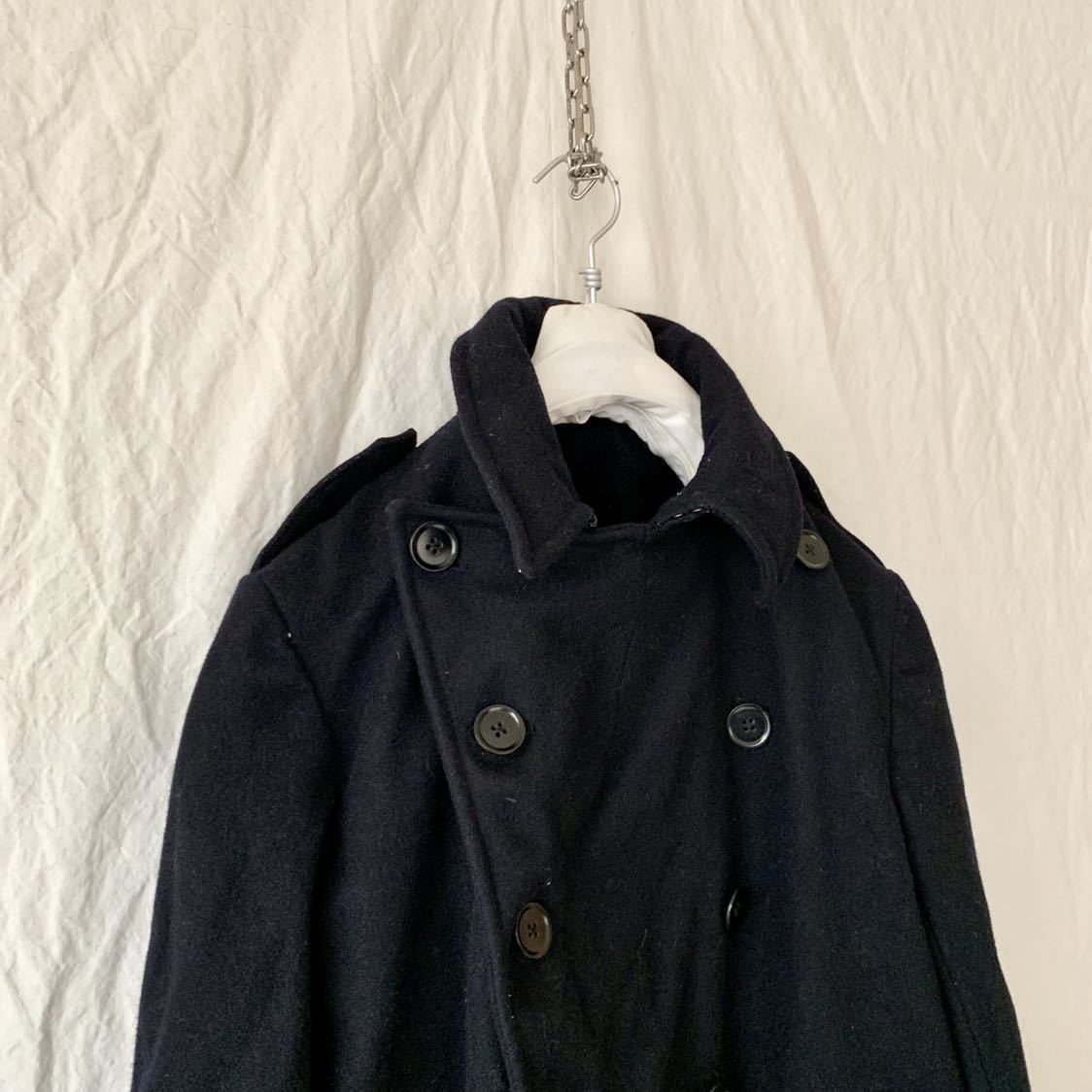 40s 50s イギリス ビンテージ ヘビーメルトン ファイヤーマン コート ウール ワーク 濃紺 ピーコート ダッフル _画像6