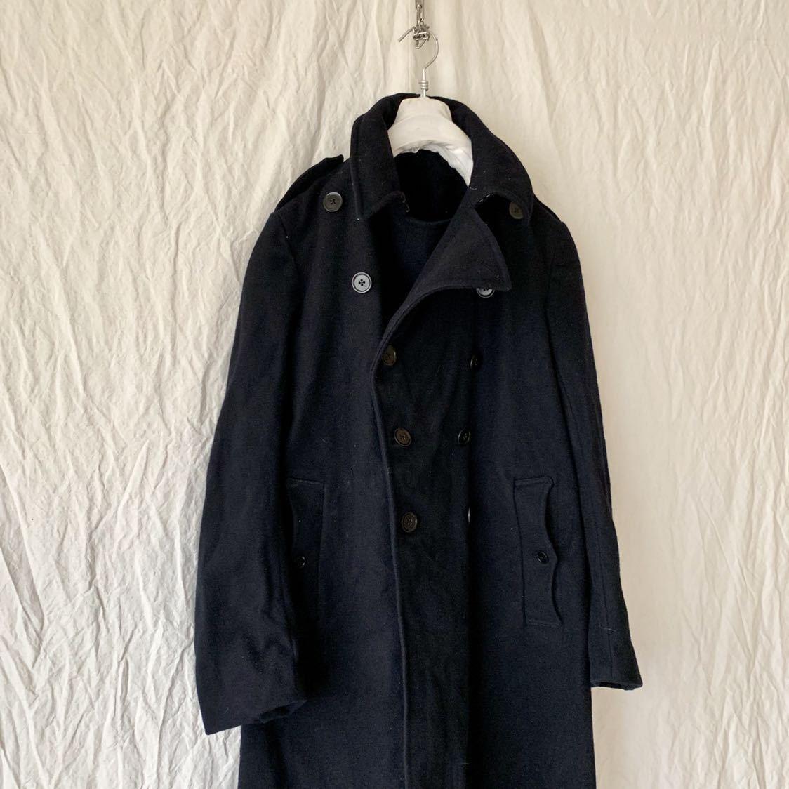 40s 50s イギリス ビンテージ ヘビーメルトン ファイヤーマン コート ウール ワーク 濃紺 ピーコート ダッフル _画像2