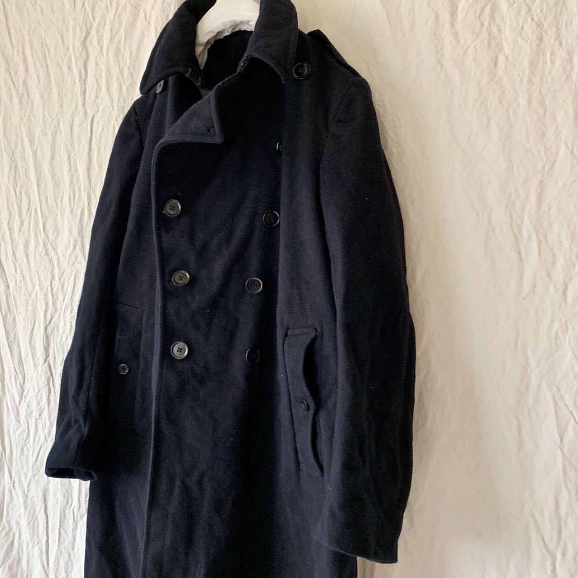 40s 50s イギリス ビンテージ ヘビーメルトン ファイヤーマン コート ウール ワーク 濃紺 ピーコート ダッフル _画像4