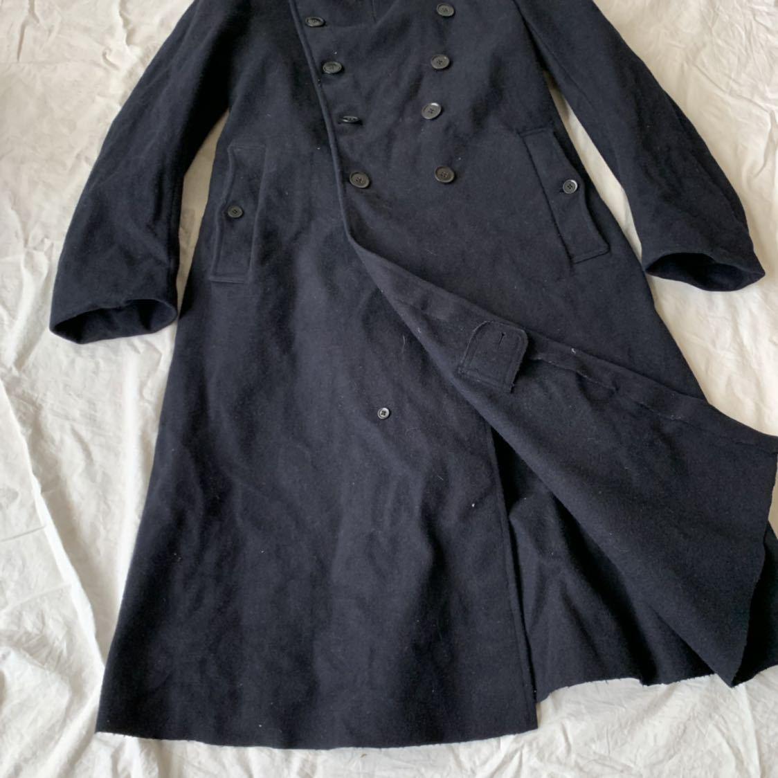 40s 50s イギリス ビンテージ ヘビーメルトン ファイヤーマン コート ウール ワーク 濃紺 ピーコート ダッフル _画像9