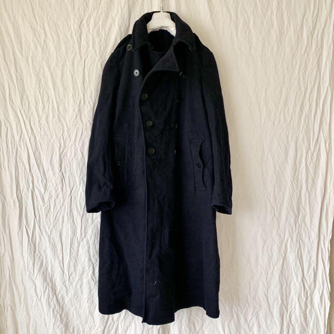 40s 50s イギリス ビンテージ ヘビーメルトン ファイヤーマン コート ウール ワーク 濃紺 ピーコート ダッフル