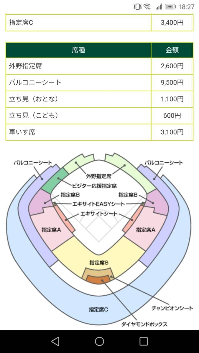 日本シリーズ 第4戦 10月23日(水) 巨人vsソフトバンク 3塁側指定席C 1枚のみ(コンビニ発券)定価から