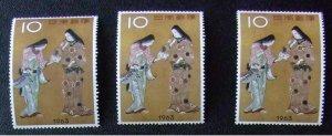 未使用 昔の切手 切手趣味週間 7種9枚組「千姫」 3枚  【銘版CM連】「機織図」【銘版CM連】「彦根屏風」【題名連】「寛文美人図」_画像1