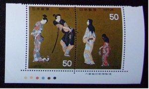 未使用 昔の切手 切手趣味週間 7種9枚組「千姫」 3枚  【銘版CM連】「機織図」【銘版CM連】「彦根屏風」【題名連】「寛文美人図」_画像3