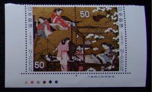 未使用 昔の切手 切手趣味週間 7種9枚組「千姫」 3枚  【銘版CM連】「機織図」【銘版CM連】「彦根屏風」【題名連】「寛文美人図」_画像2