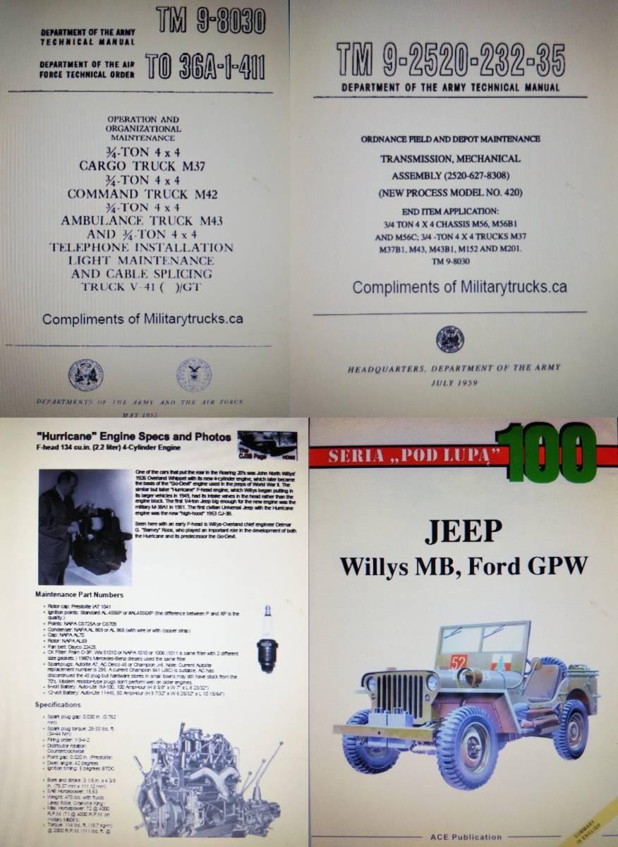 Willys jeep MB M38 CJ-2A CJ-3B 整備書 部品書 GPW ミリタリージープ PDF 資料DVD _PDFファイル方式DVD1枚に収録されてます。