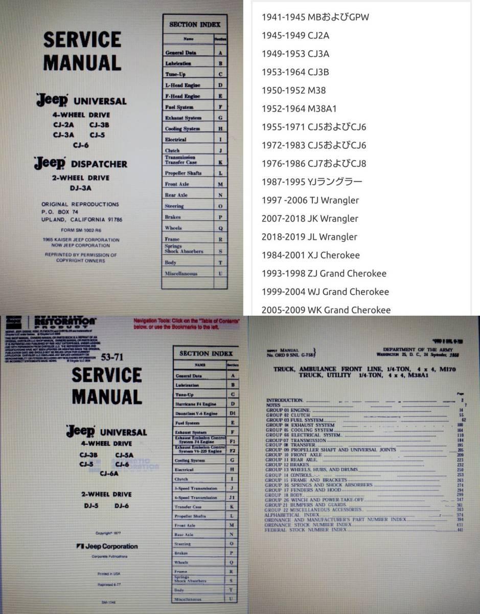Willys jeep MB M38 CJ-2A CJ-3B 整備書 部品書 GPW ミリタリージープ PDF 資料DVD _PDFファイル方式PCで閲覧します。