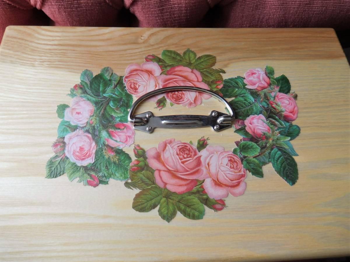 ◆アンティーク&ヴィクトリアン調 デコパージュボックス 裁縫箱 救急箱 メイクボックス 小物入れ クロモス 天使 薔薇◆_画像3