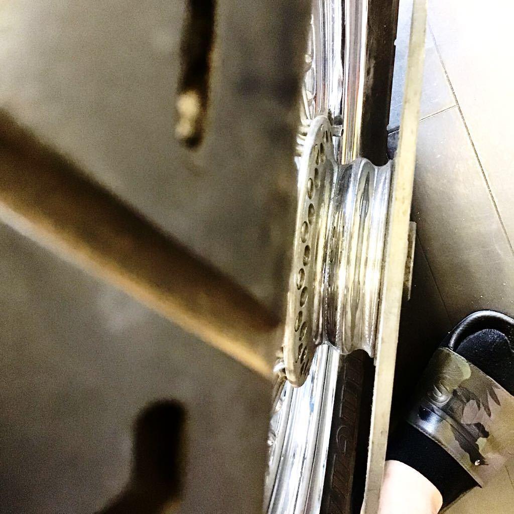 希少★ハーレー ショベル エボ ソフテイル ファットスポーク ホイール 16×3.00 コンチネンタル 80本 スプロケ ローター付_画像6