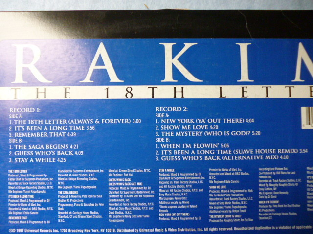 Rakim / The 18th Letter 試聴可 オリジナル盤 2LP 名盤 The Saga Begins / Guess Who's Back / It's Been A Long Time収録_画像2