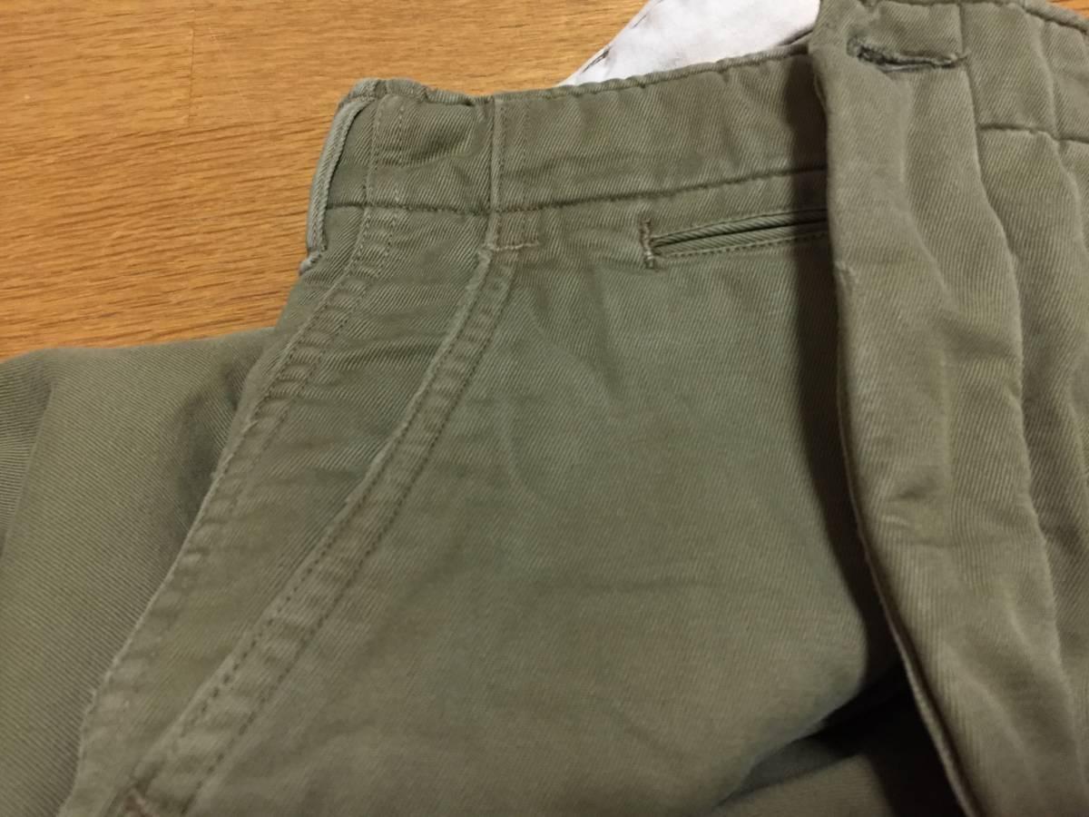 40s ビンテージ ダブルステッチ チノ ライナー付き 実物 アーミー 米軍 40年代 大戦 ARMY 45カーキ パンツ_フロントフライとポケットに若干のスレ